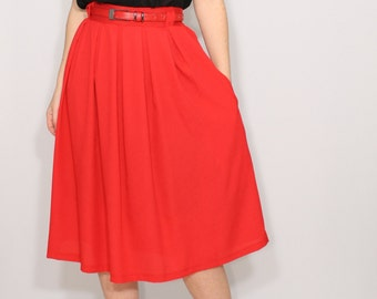 Red Midi skirt Chiffon skirt High waisted skirt with pockets Womens skirt