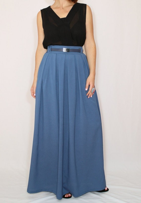 blue grey skirt chiffon maxi skirt high waisted maxi
