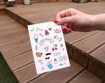 Baby & kids Temporary Tattoo / skin stickers / fun / face painting / body art / super cute illustration / summer activities / Party Goody
