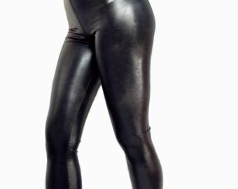 High waisted black shiny wet look spandex leggings Goth Clubwear