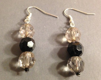 Clear Crystal and Platinum Earrings Multifaceted