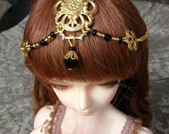 Tiara for doll  BJD oriental princess fantasy in golden and black 6-7'
