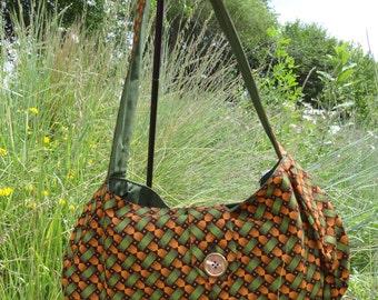Shoulder Bag: Francina Green and Orange