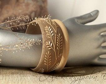 Brown Bangle set - Autumn Leaves bracelet - Branches Bracelet set - Polymer clay bangle - Beige bangle bracelet - Wide relief bracelet