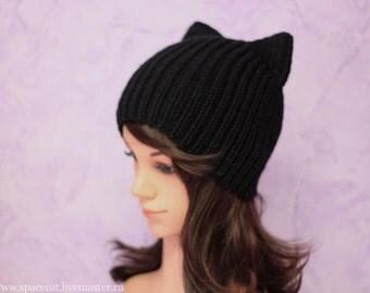 Black Cat Hat, Knit Cat Ears Hat or Cat Beanie, Women Cat Hat, art. 16