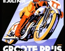 Motorcycle TT Bike Race 1931 Netherlands Holland Speed Race Vintage Poster Repro Free S/H in USA