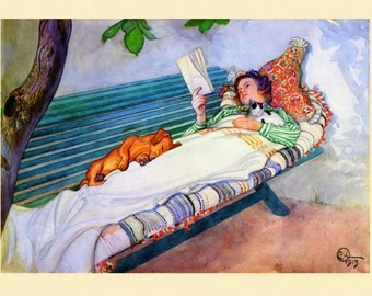 Dog Lady Reading Dachshund Cat Charming Vintage Poster Repro FREE SHIPPING in USA