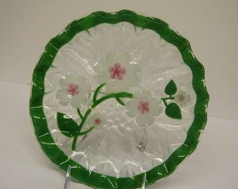 Fused glass dish with UNIQUE DOGWOOD BLOSSOM design