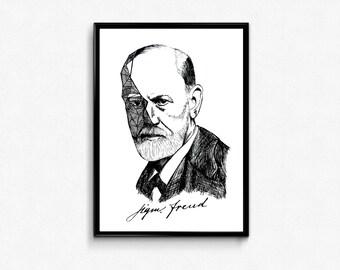 Freud Art Print - Sigmund Freud Portrait Ink Drawing - Science Poster (Psychology art) / psychology gift - Wall Decor