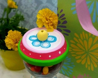 Spring Whimsy Gumball Machine, Candy Jar, Gumball Candy Jars, Clay Pot Candy Dishes