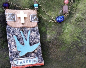 Turquoise Swallow with Cross Handmade Necklace