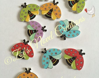 20 Ladybird Buttons in mixed colours