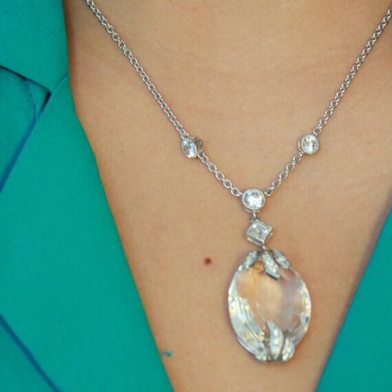 Crystal Vintage Silver Cubic Zirconia Necklace | Bridesmaids Wedding Necklace | Crystal Pendant | Cubic Zirconia Pendant