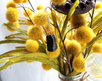 Black Lava Stone Pendant Necklace