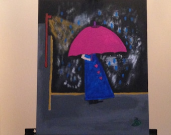 Walking in the evening with a pink umbrella