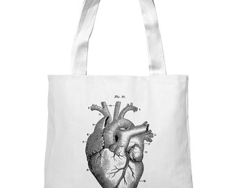 Mintage Heart Anatomy Super-Soft Heavyweight Tote Bag