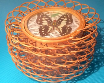 Rattan Butterfly Coasters - Set of Six