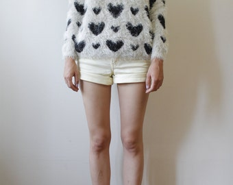Vintage Sweater Heart Print Jumper