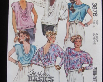 1988 McCall's 3876 Drape Blouse Top Shirt  Batwing Pullover Pattern Misses Size Medium UNCUT