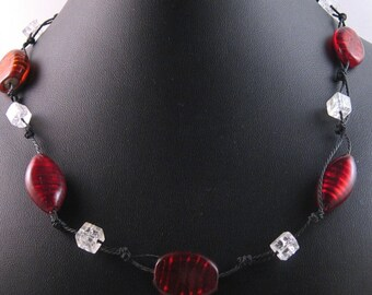 Red silver foil glass beads necklace