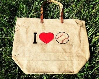 I Love Baseball Jute Bag