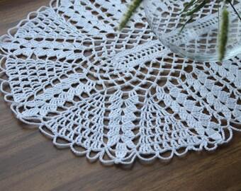 Crochet doily, openwork doily, handmade doily, white knitted doily