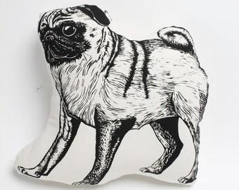 Hand Printed Shaped Pug Cushion