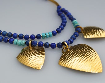Statement Curvilinear Triangle Blue Necklace / Lapis and Turquoise Necklace / Gold Statement Necklace / Genuine 24k Gold Plate Over Silver