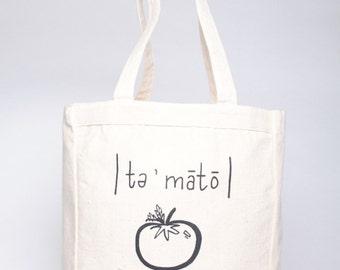 Printed Canvas TOTE BAG // You Say Tomato Farmers Market Tote Bag // VEGAN Reusable Bag