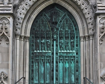 New England Art Print, Gates, Architecture Photography, Church, Church Gate, Patina, Green and Gray, Turquoise, Gothic, Gothic Architecture