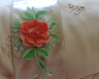 Vintage Bangle Bracelet Reverse Carved on Clear Lucite Pink Rose STUNNING