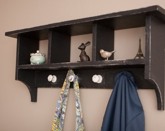 Rustic Wall Coat Rack with Cubbies