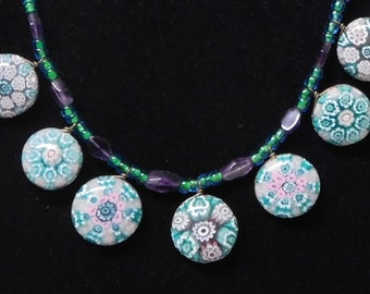 Fused glass necklace--purple and green millefiori with amethyst beads