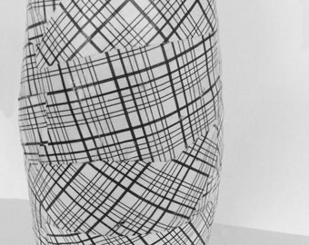 Paper mâché  vase_black and white plaid.  This item will ship within 1-2 business days via USPS. Large flat rate box: 18.75.