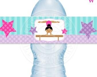 Dark Girls Gymnastics Theme Printable Water Bottle Wrappers, Gymnast Bottle Labels, Instant Download, Gymnastics Party Printable