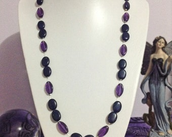 Blue goldstone beaded necklace