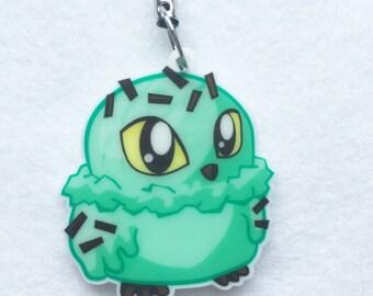 Owl-A-Mode: The Ice Cream Owl, Owl Cell Charm, Ice Cream Keychain, Owl Keychain