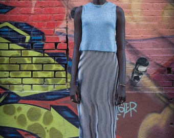 Baby Blue Vintage 90's Sparkly Stretchy Knit Tank Top with Open Back