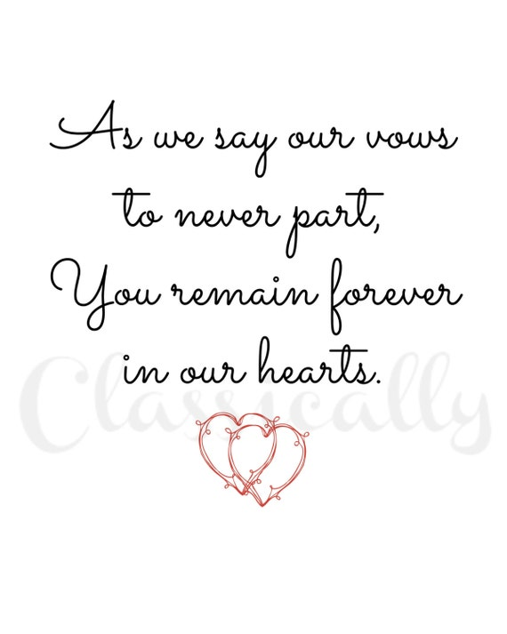 Wedding Memorial Sign Print, In Loving Memory in Red and Black