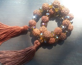 Jamala-Suitcase Rudraksha and crystal-mala of Rudraksha and crystal-meditation-Indian seeds-Golden crystal-Zen