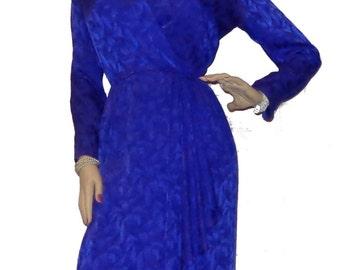 Vintage GIVENCHY 100% Silk Surplice Wrap Style Blue / Purple Dress Size 12