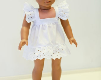 American made Girl Doll Clothes, 18 inch Doll Clothing, White Eyelet Trimmed Dress made to fit like American girl doll clothes