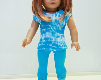 American made Girl Doll Clothes, 18 inch Doll Clothing, Turquoise Tie-Dye Top, Turq Lace Capris made to fit like American girl doll clothes