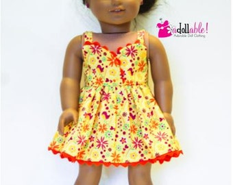 American made Girl Doll Clothes, 18 inch Girl Doll Clothing, Yellow/Pink/Orange Sundress, made to fit like American girl doll clothes