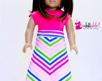 American made Girl Doll Clothes, 18 inch Doll Clothing, Striped Mitered Maxi Skirt, Pink Top made to fit like American girl doll clothes