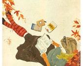Reading Under Tree Print