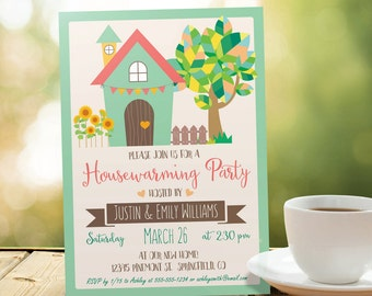 Summer Housewarming Invitation - Personalized Printable DIGITAL FILE - Housewarming Party Invitation