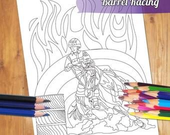 barrel racing coloring pages - barrel racing art etsy