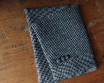 Upcycled iPad Case from men's suit-iPad Sleeve-Tablet Case-iPad Cover-Wool iPad Sleeve-Blue and Gray Wool iPad Sleeve