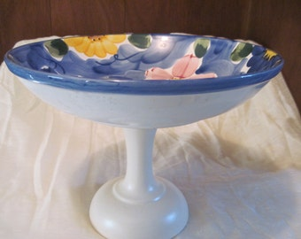 vintage birdbath,birdfeeder made with decorative floral indigo bowl made in portugal and base made in usa